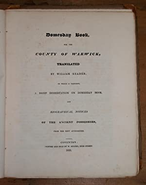 Domesday Book for the county of Warwick. Warwickshire: Reader, William