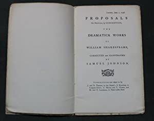 Johnson's proposals for his edition of Shakespeare 1756. Printed in type facsimile