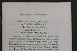 Final concord, and entail, by Thomas Sturmyn, of lands in Haverford West, anno 5 Edw 3. From Fenton...