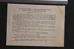 Ex Codice MSS. Phillipps, No 1650, olim in Bibliotheca Deoderici, Abbatis de Metz, cum autographo ...