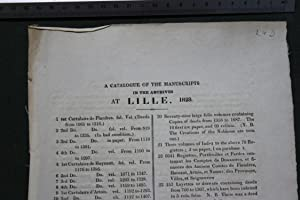A catalogue of the manuscripts in the archives at Lille 1828 [.] Dans les archives de la Prefecture...