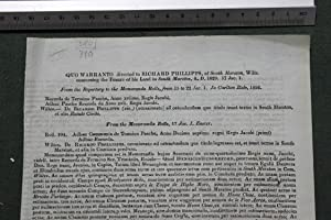 Quo warranto directed to Richard Phillipps of South Marston, Wilts concerning the tenure of his ...