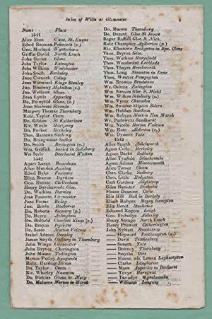 Index of wills at Gloucester