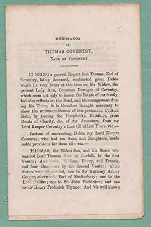 Memoranda of Thomas Coventry, Earl of Coventry