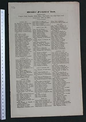 Wiltshire freeholders' book. Tempore Edwdi. Bayntun, Militis Balnei, Vice-Comitis, Anno Regni ...
