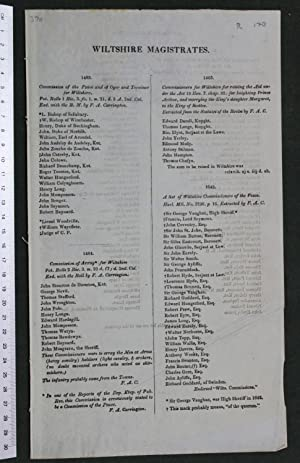 Wiltshire magistrates [lists for 1483, 1484, 1503, 1642, 1661]