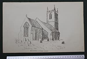 Bensinton Church Oxon - Bensington - lithographic image of the church