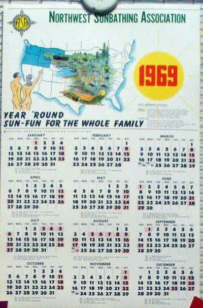 Calendar 1969.Northwest Sunbathing Association 1969
