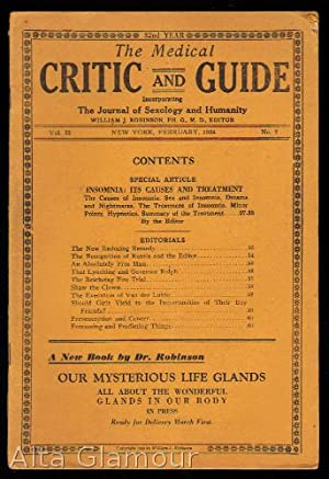 THE MEDICAL CRITIC AND GUIDE; Incorporation The Journal of Sexology and Humanity 56 numbers from ...