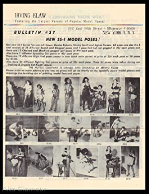 IRVING KLAW BULLETIN #37; Featuring the Largest Variety of Popular Model Photos New SS-1 Model ...