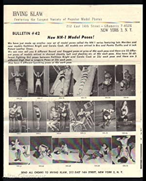 IRVING KLAW BULLETIN #44; Featuring the Largest Variety of Popular Model Photos New NN-1 Model ...