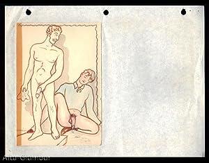 FIVE ORIGINAL GAY WATERCOLOR and PENCIL DRAWINGS (Pygmalion theme)