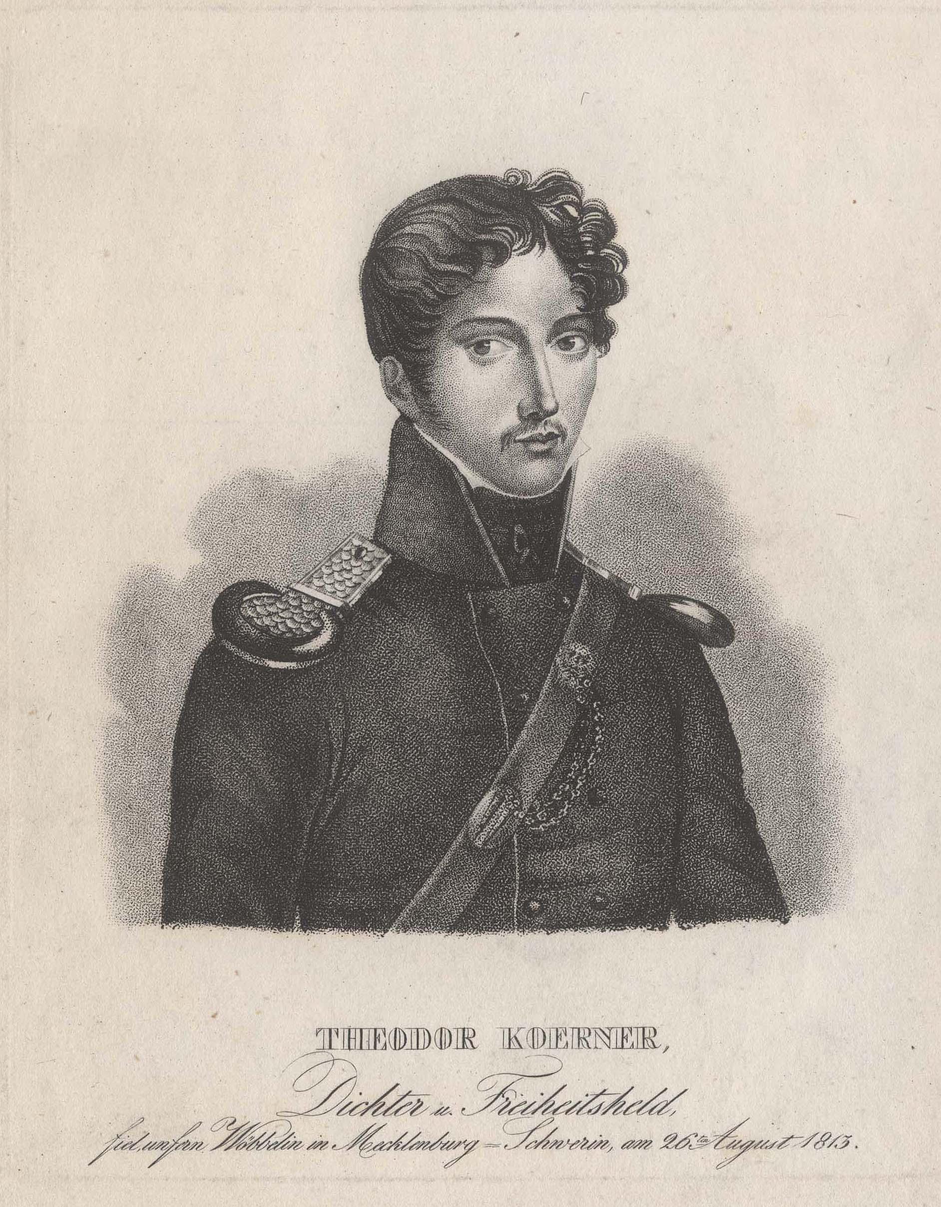 Carl Theodor Körner (Dresden 23. 09. 1791 - 26. 08. 1813 bei Gadebusch in Mecklenburg). Dichter und Dramatiker. Während sein Theaterschaffen fast völ