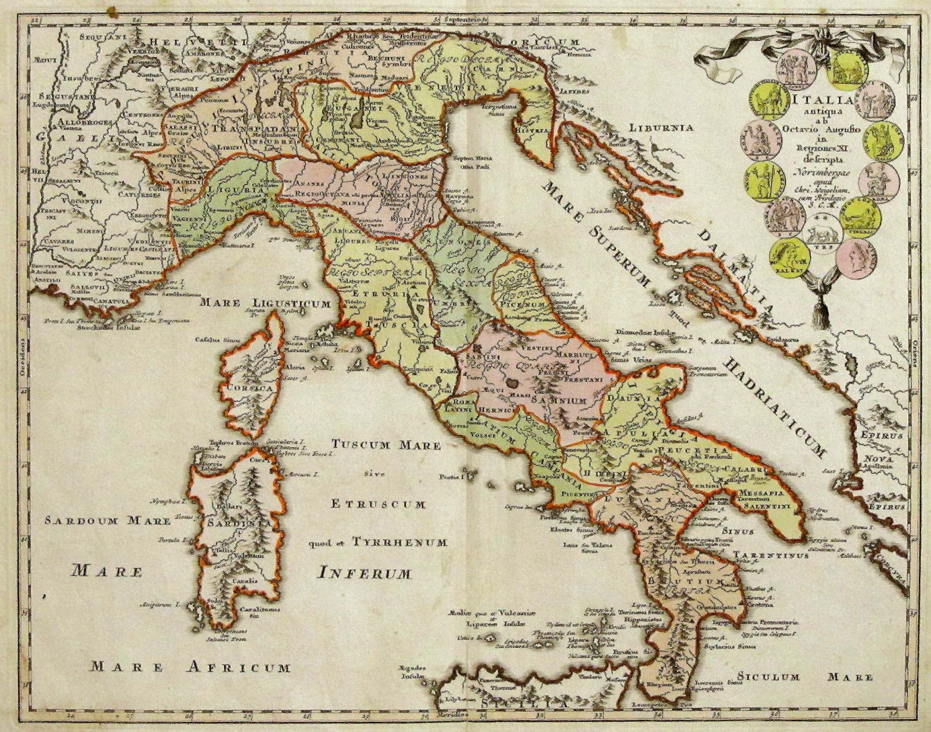 Vialibri Kupferstich Karte B Chr Weigel Italia Antiqua Ab