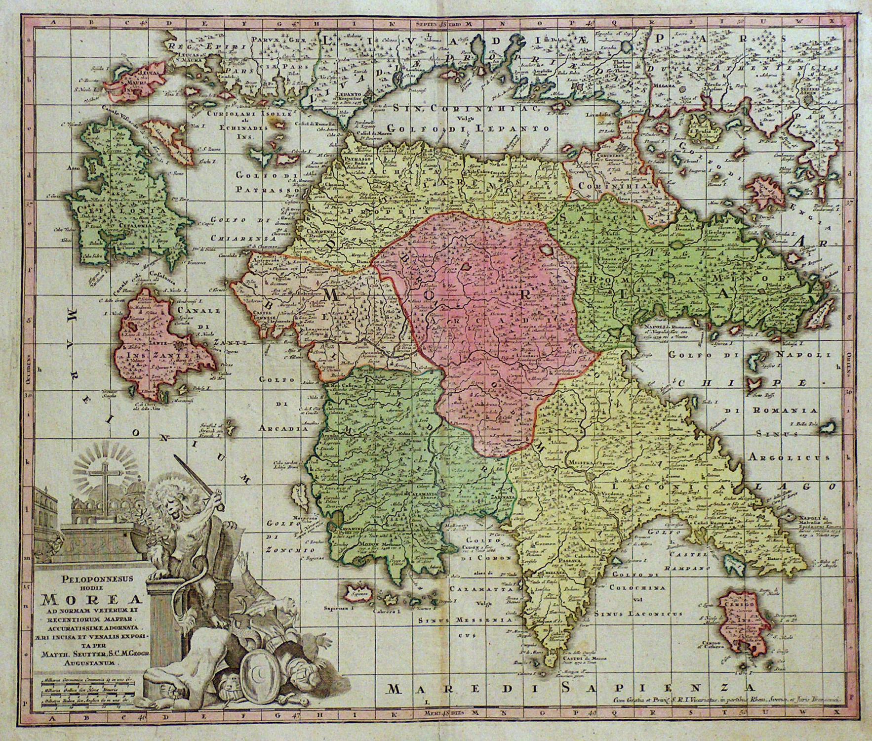 Peloponnes Karte.Vialibri Kupferstich Karte V Seutter Peloponnesus Hodie Morea