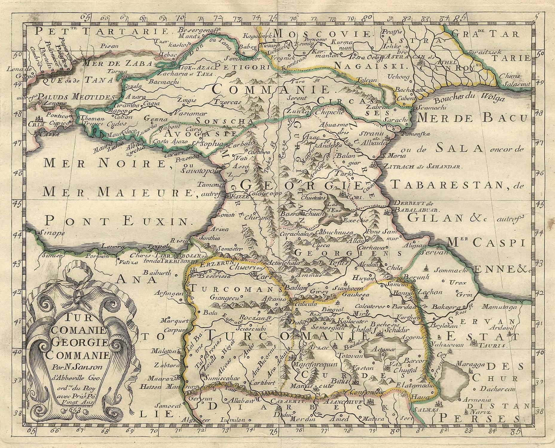 Armenien Karte.Kupferstich Karte B N Sanson