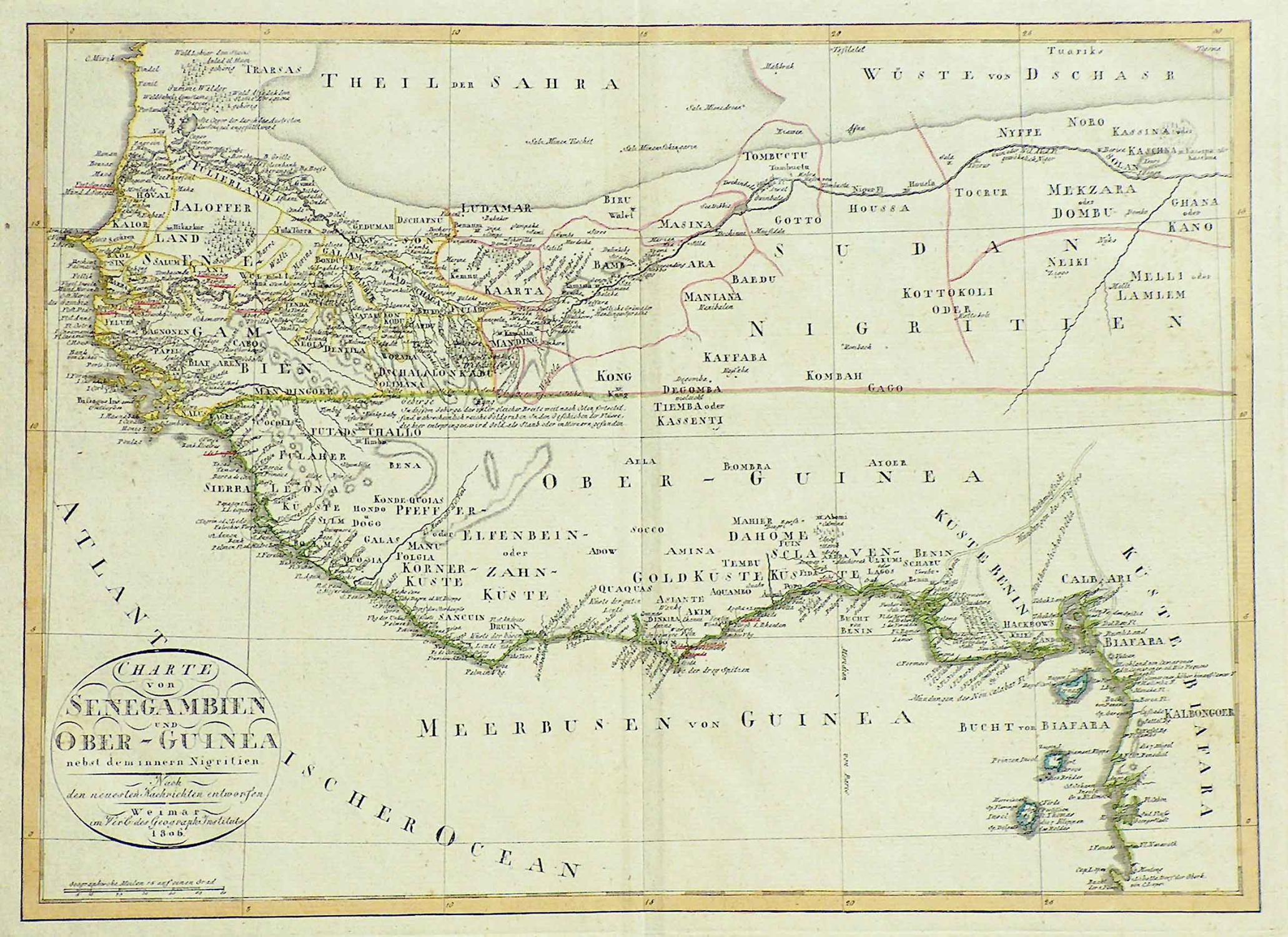 Kupferstich- Karte, v. Gaspari b. Geogr. Inst.: WESTAFRIKA ( West