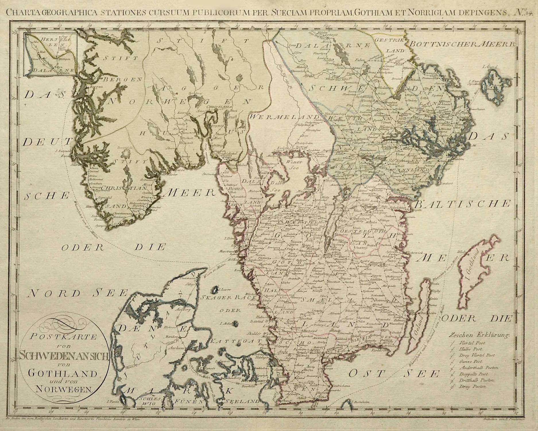 Karte Südnorwegen.Kupferstich Karte V K Ponheimer Bei