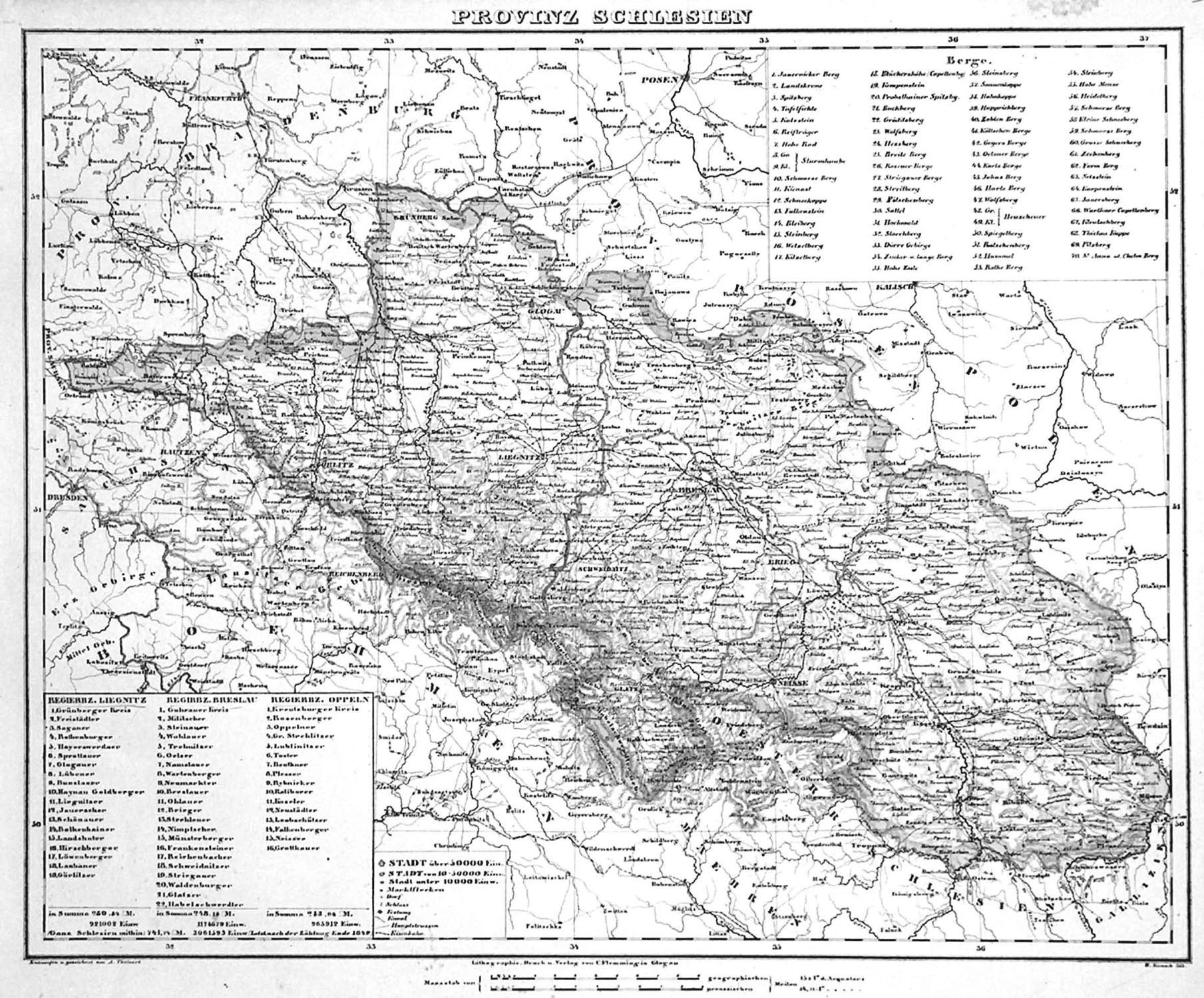 Schlesien Karte Heute.Lithografie Karte V Kunsch N Theinert B