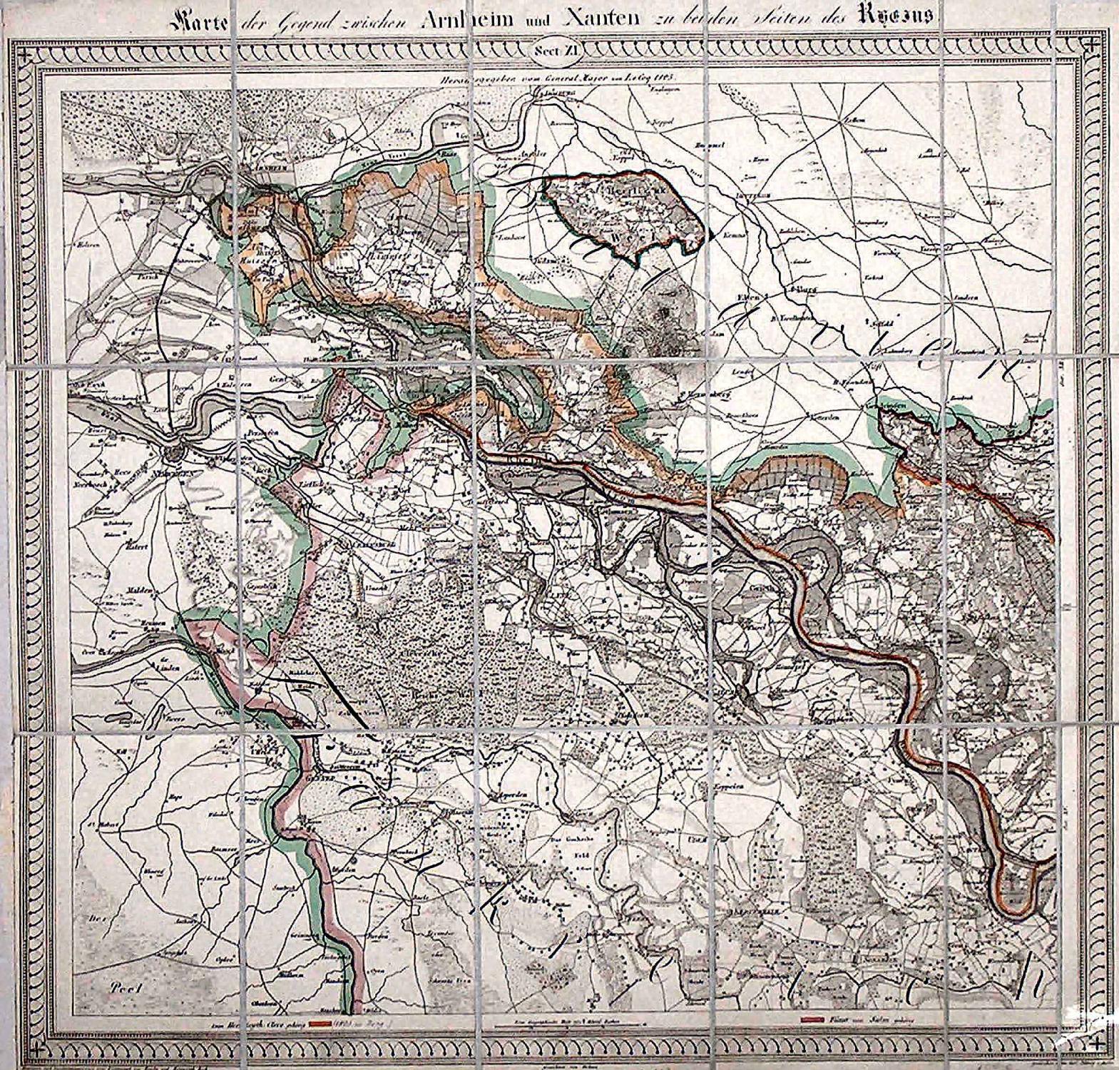 Karte Niederrhein.Kupferstich Karte N Reiche U Bach F