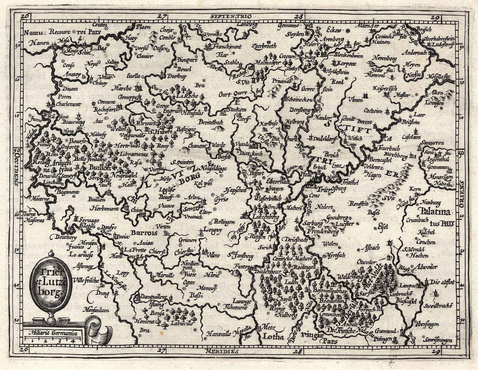 Bistum Trier Karte.Kupferstich Karte N Mercator B Hondius Trier Et Lutzeborg