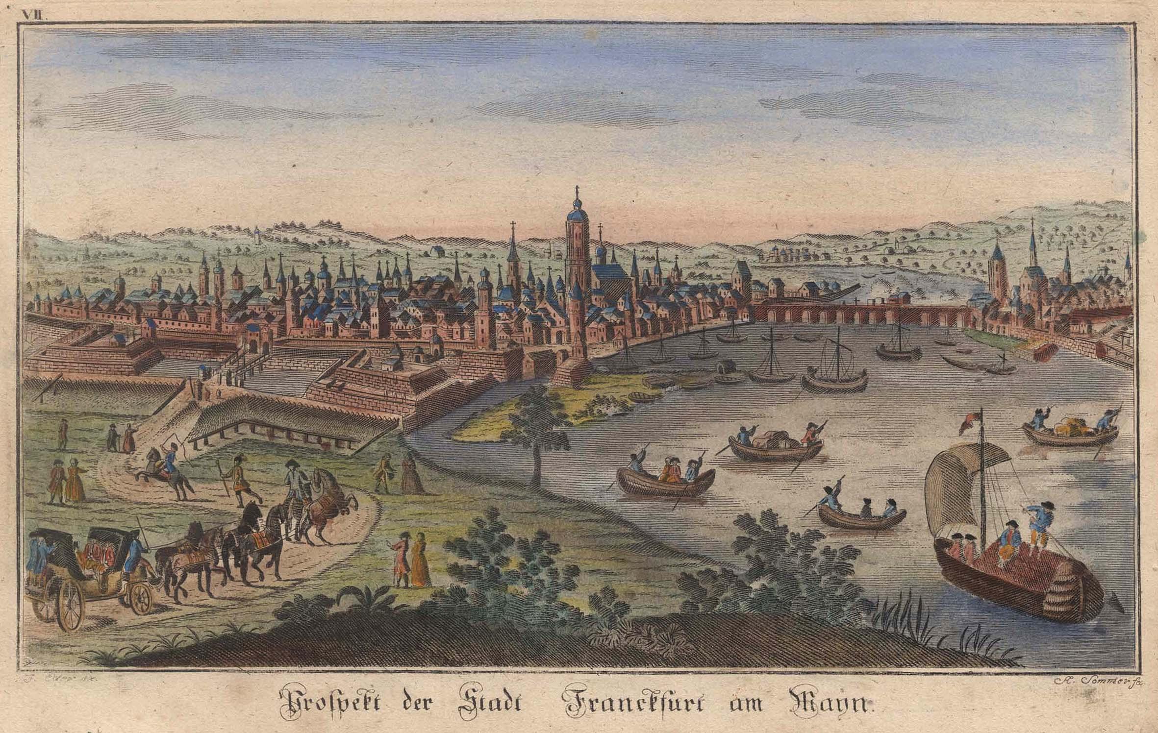 """Gesamtansicht, """"Prospect der Stadt Franckfurt am Mayn"""".: FRANKFURT:"""