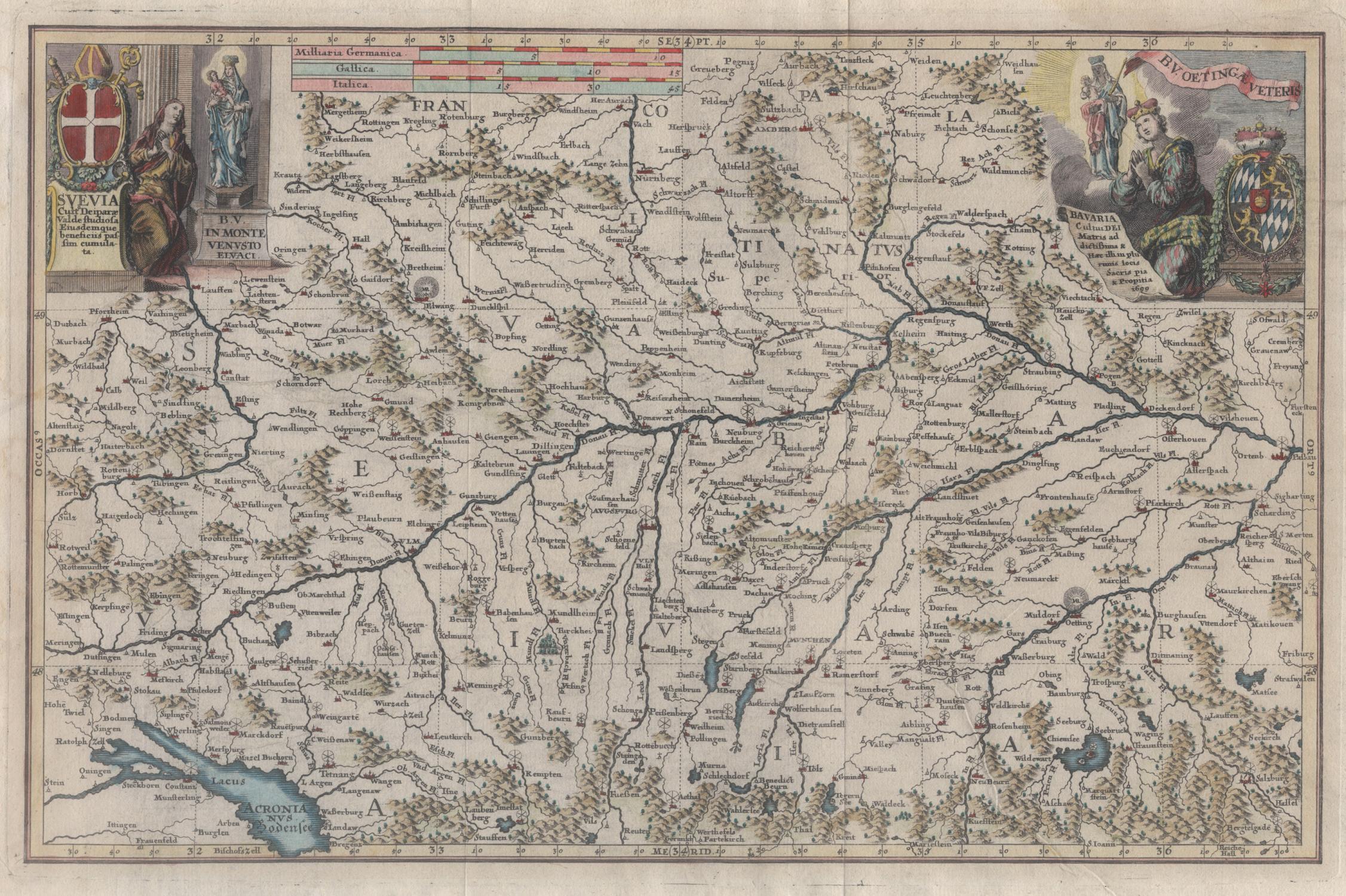 Karte Augsburg.Kupferstich Karte Augsburg Bei Scherer
