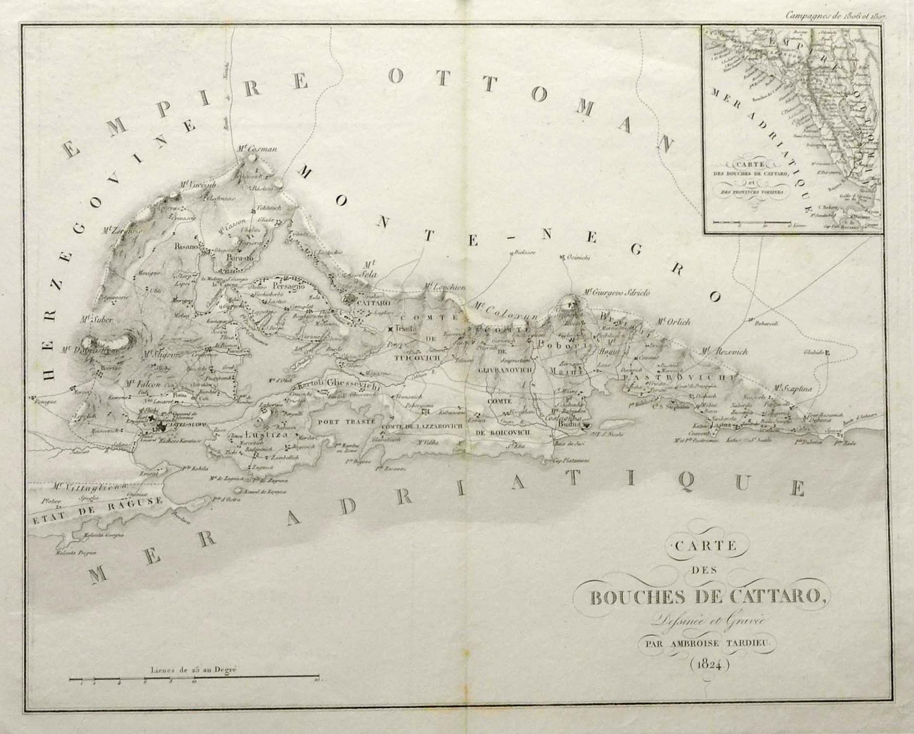 Kotor Montenegro Karte.Kupferstich Karte Von Amb Tardieu