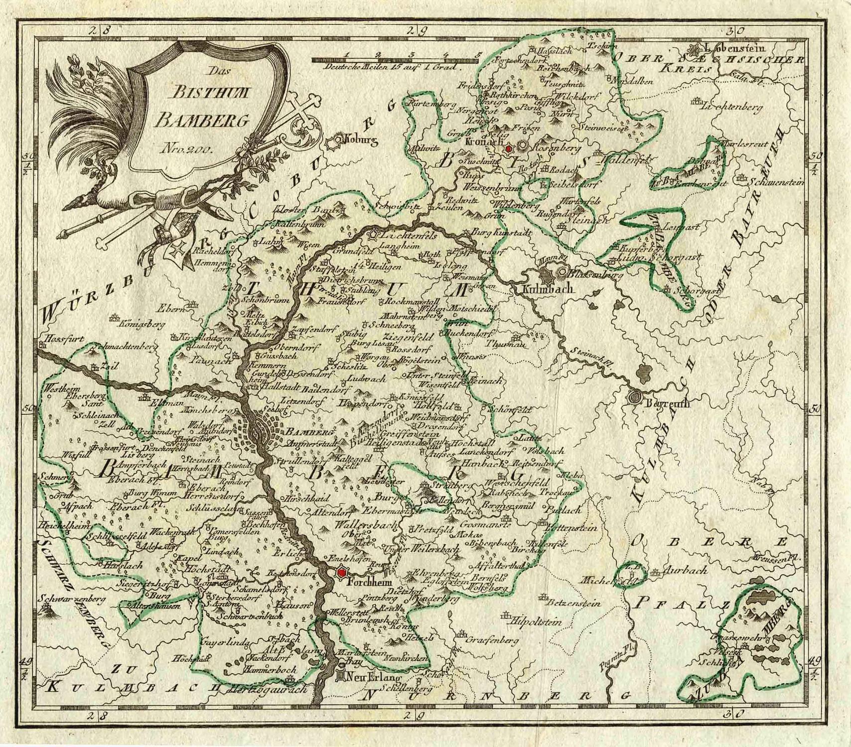 Karte Bamberg.Kupferstich Karte V Reilly