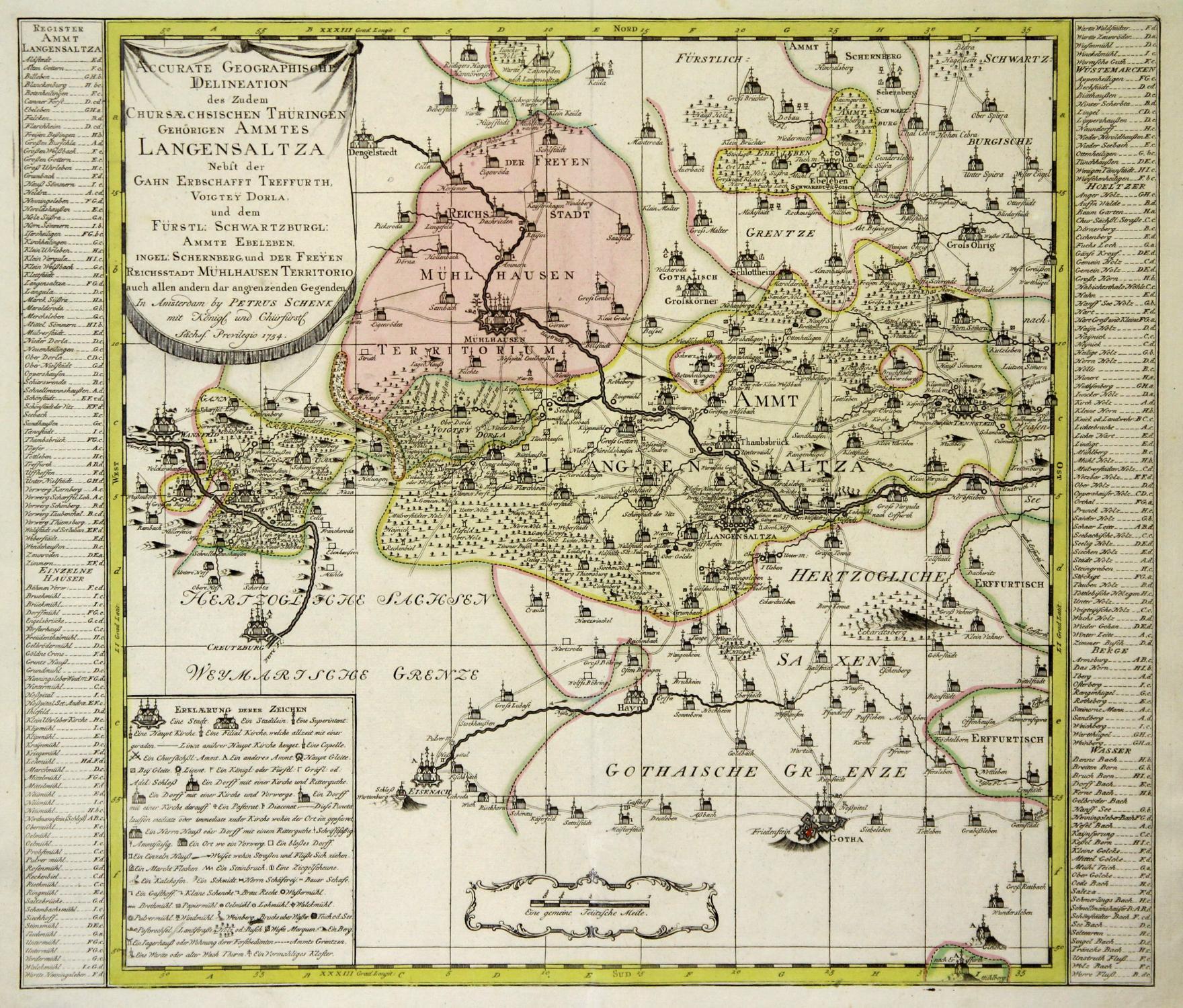 """Kupferstich- Karte, b. P. Schenk, """"Accurate Geographische: BAD LANGENSALZA ("""