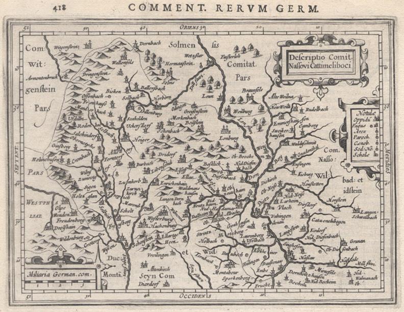 Westerwald Karte.Kupferstich Karte B Bertius