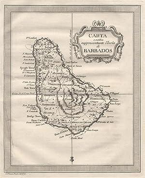 """Kupferstich- Karte, aus """"Gazzetiere Americano"""" v. D.: KLEINE ANTILLEN ("""