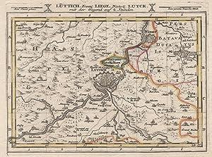 """Kupferstich- Karte, b. G. Bodenehr, """"Lüttich, Frantzl.: LÜTTICH ( Luik"""