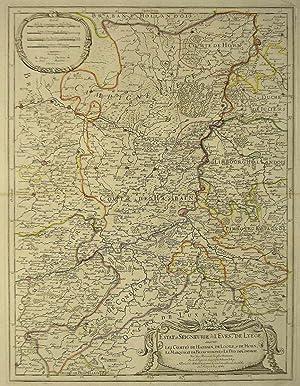 """Kupferstich- Karte, n. Sanson b. Jaillot, """"Estat: LÜTTICH ( Luik"""