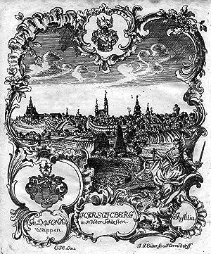 Gesamtansicht, zusammen mit einem Wappen und Allegorien,: HIRSCHBERG ( Jelenia