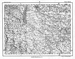 "Lithografie- Karte, aus ""Atlas d. Prov. Pommern"": PYRITZ ( Kreis"