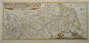 Kupferstich- Karte, b. Jans.- Waesberghe, M. Pitt: RHEINLAUF: