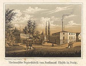 """Teilansicht, Industrieanlagen, """"Mechanische Papierfabrik von Ferdinand Flinsch in Penig""""...."""