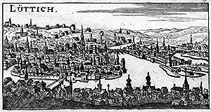 Gesamtansicht, v. einer Anhöhe, m. Blick auf: LÜTTICH ( Luik