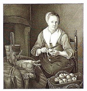 Une cuisinière, Äpfel schälend und mit einem: KÜCHE: KÖCHIN:
