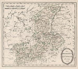 """Kupferstich- Karte, v. Reilly, """"Das Hochstift Lüttich"""".: LÜTTICH ( Luik"""