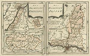 Kupferstich- Karte, b. Reilly, 2 Darstellungen auf: PASSAU und FREISING: