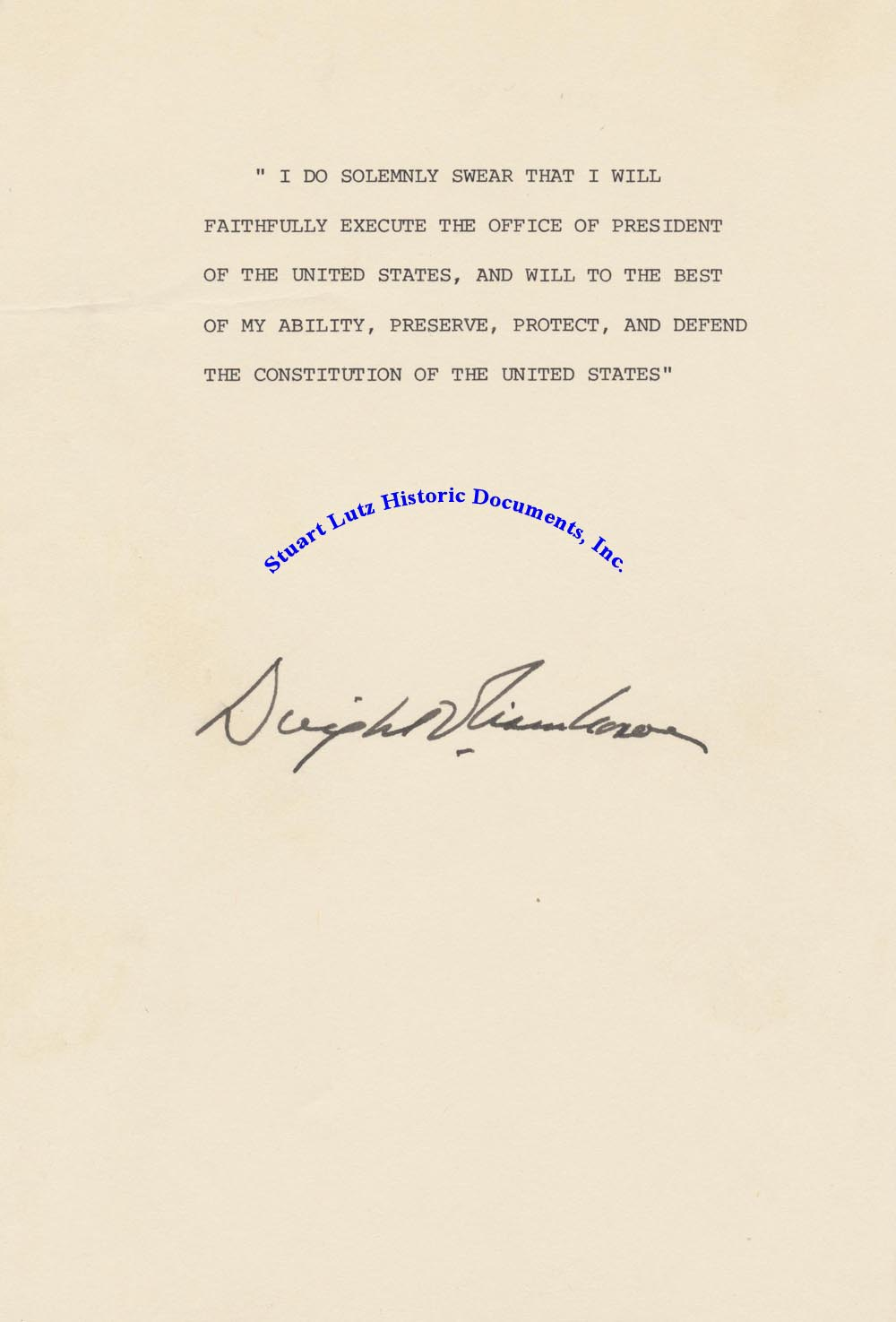 From Eisenhowers Military Industrial >> Dwight Eisenhower Signs An Oath Of Office by DWIGHT EISENHOWER: Signed by Author(s) - Stuart ...
