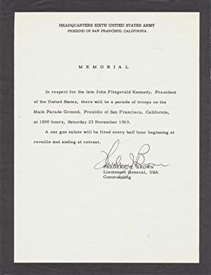 Mourning Broadside Announcing A Military Parade To: JOHN F. KENNEDY