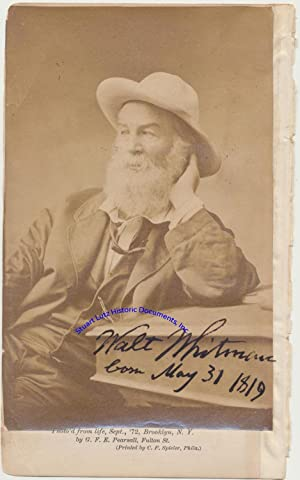 A Handsome Walt Whitman Signed Portrait: WALT WHITMAN