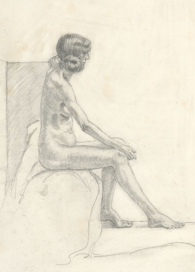 Olive Fitch-Jones - circa 1914 Graphite Drawing, Seated Female Nude Olive Fitch-Jones