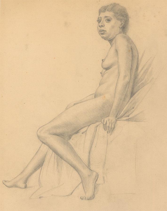 Elle Villar - A Set of Four circa 1916 Graphite Drawings, Nude Studies Elle Villar