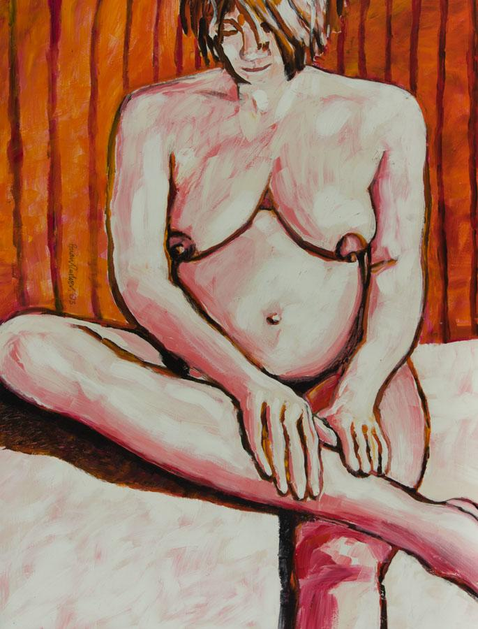 Brian Rusher - 2003 Acrylic, Seated Female Nude Brian Rusher