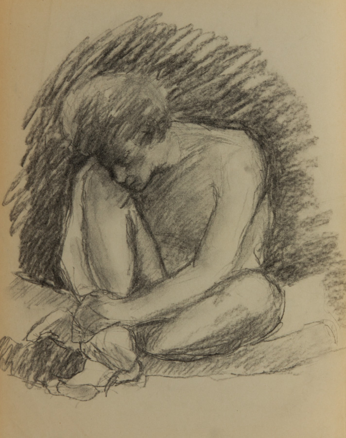 Mid 20th Century Charcoal Drawing - Nude with Legs Crossed