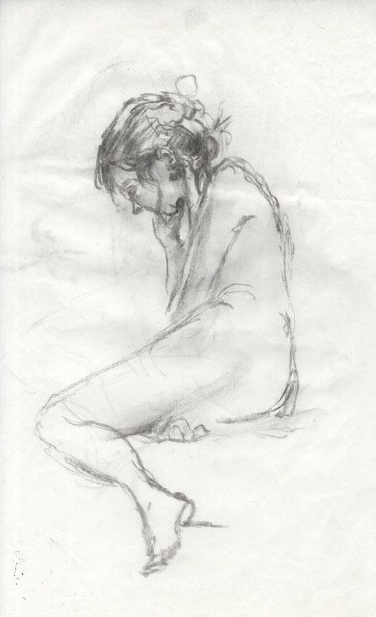 Set of Two Contemporary Drawings in Charcoal and Graphite- Nude.